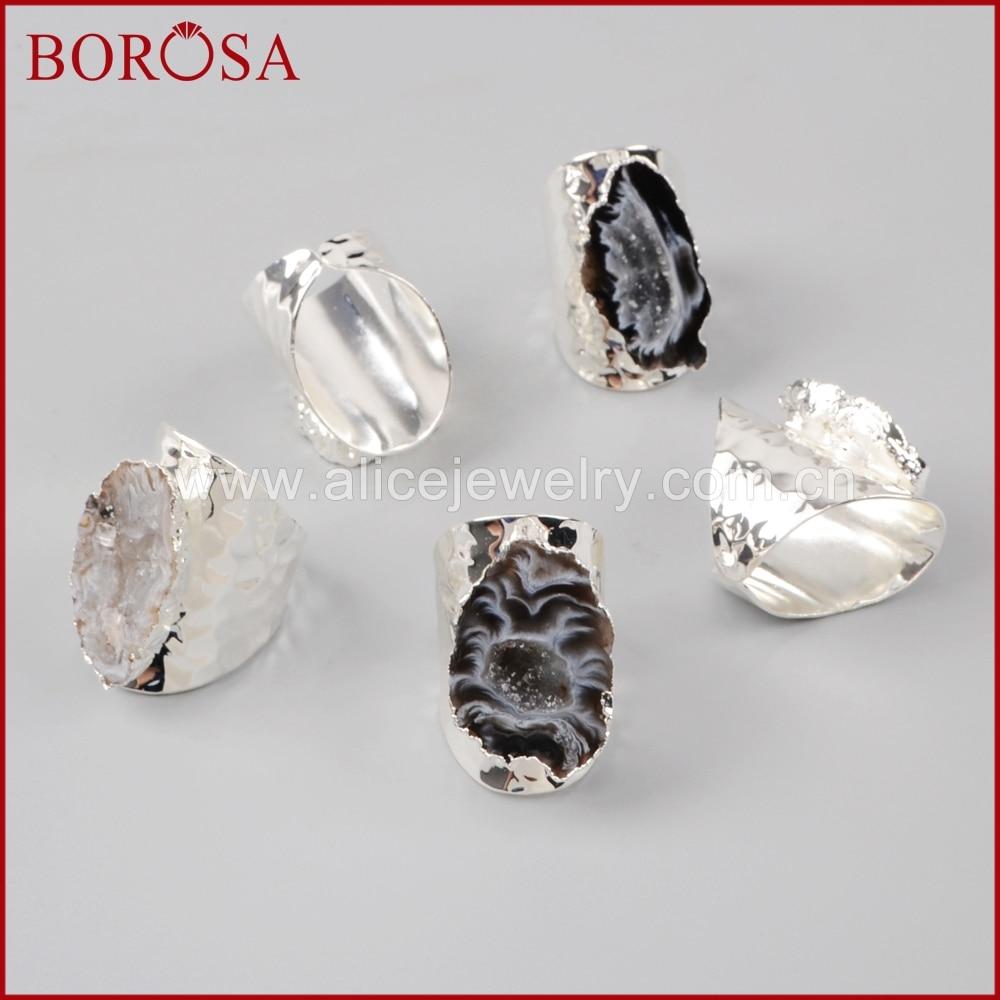 Image 4 - BOROSA 5/10PCS Elegant Silver Color Freeform Natural Crystal  Agates Druzy Slice Open Band Rings Gems Party Rings Jewelry S1388band  ringfashion ringsring fashion