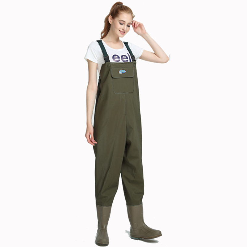 High-Jump 0.9mm Unisex Multi-Used Siamese Fishing Waders PVC Breathable Chest Waterproof Overalls Oxford End Waders For Fishing