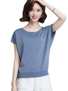 Womens Cardigan Sweaters Blue Tops Sweet And Shirts Spring Holiday Elastic Loose-Style