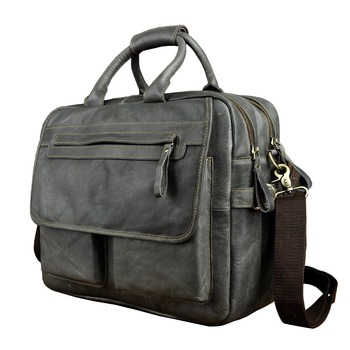 "Men Quality Leather Antique Business Briefcase Handbag 15.6"" Laptop Case Attache Portfolio Bag One Shoulder Messenger Bag 2951"