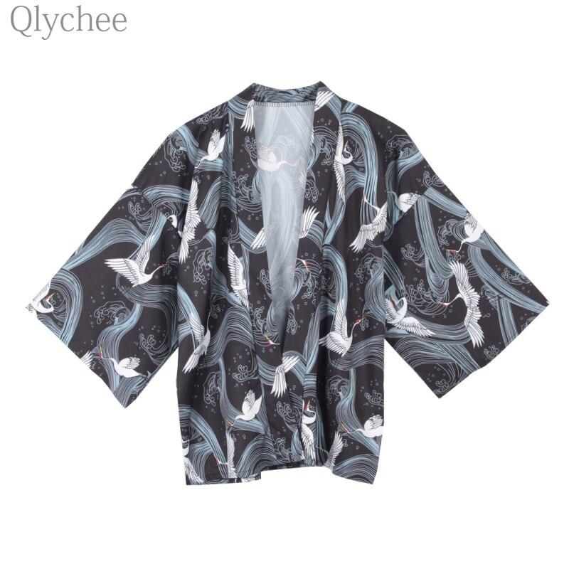 Qlychee Japanese Vintage font b Women b font Cardigan Crane Print Kimono Open Stitch Casual Loose