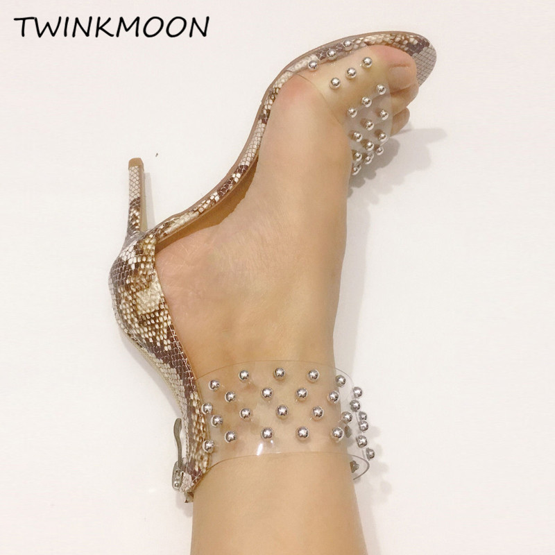 2019 sandales cloutées femmes talons aiguilles chaussures PVC Transparent sandales serpent imprimé chaussures en cuir zapatos de mujer - 4