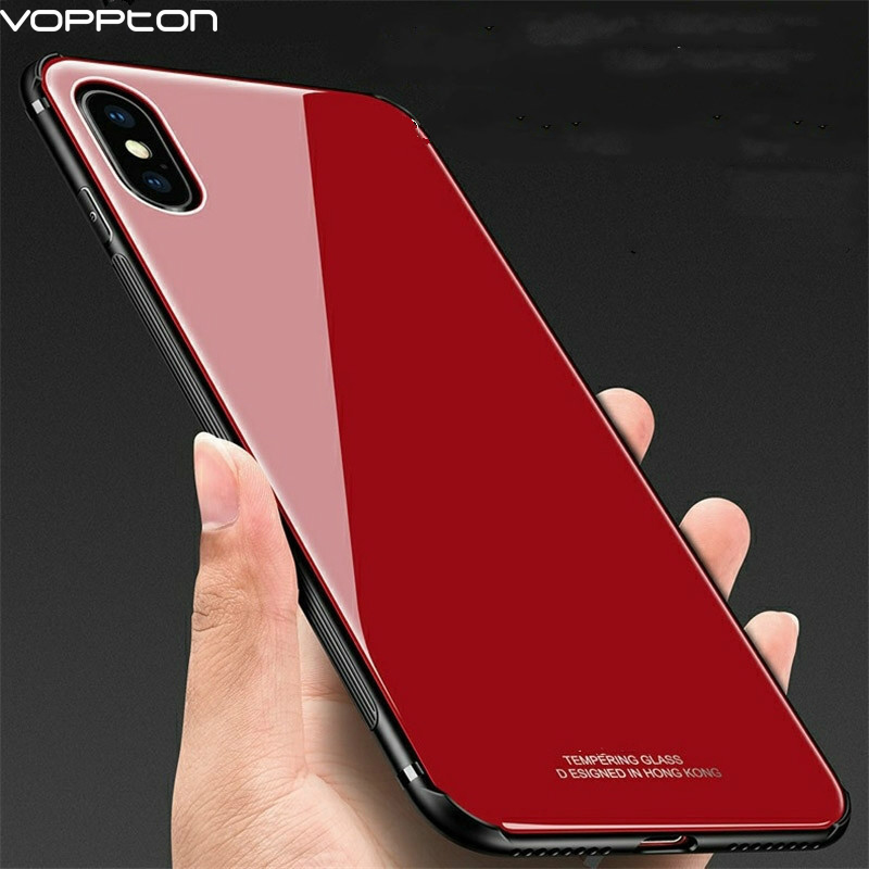 wholesale dealer 35958 3ac10 Voppton Tempered Glass Case For iPhone XS XR XS MAX Silicone Frame ...