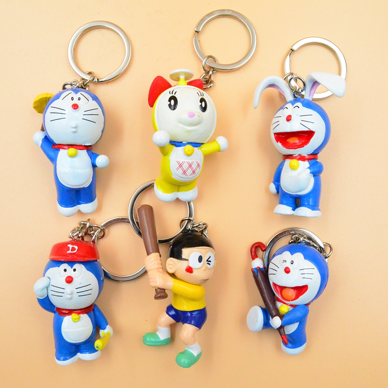 6pcs/set Assorted Doraemon Baseball Nobita Nobi Anime Action Figures with Key Rings Children Gift