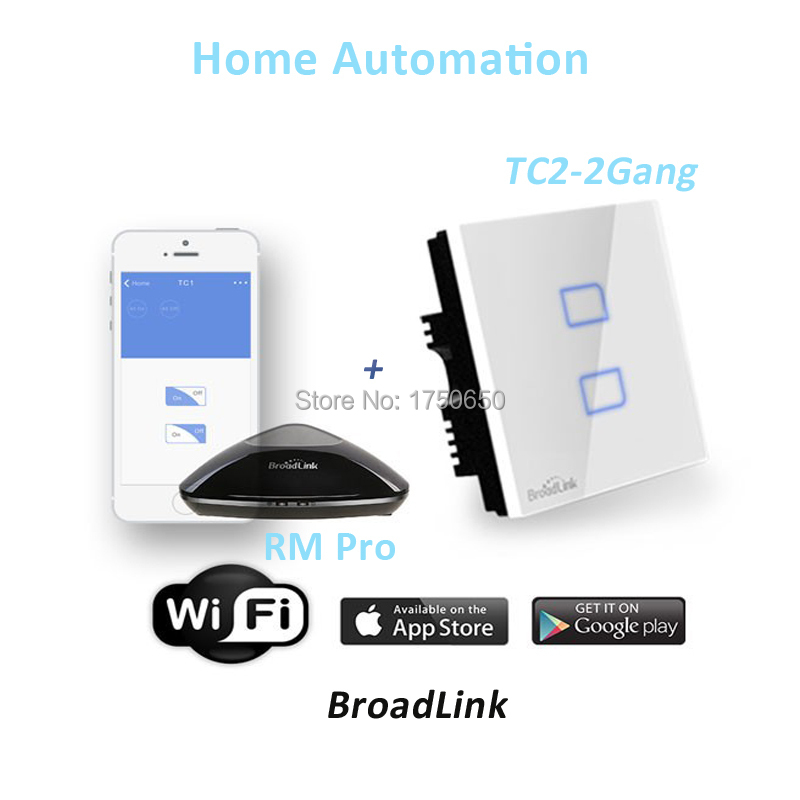 Broadlink RM RM2 PRO Intelligent Universal Sonoff Switch Controller WIFI IR RF TC2 2 Gang 433 mhz Touch Wall Light Smart switch broadlink us tc2 wifi touch switch 3gang 110 220v for rm2 rm pro universal remote controller wifi ir rf wireless control 433 315