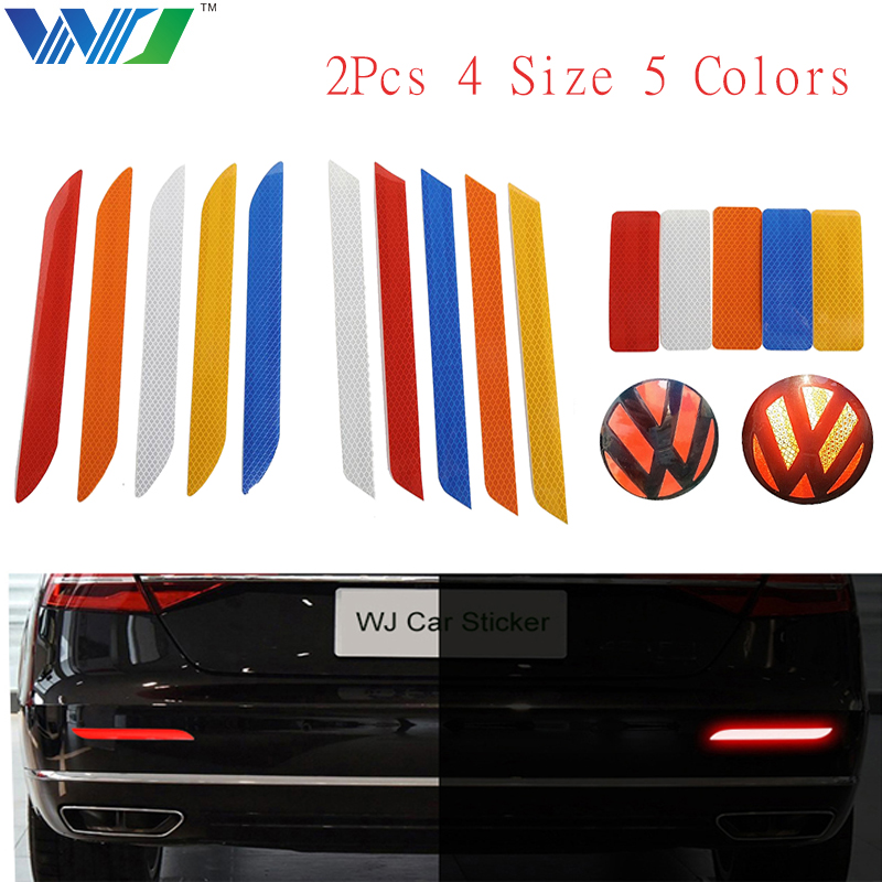 WJ 2Pcs 4 Size 5 Colors Car Sticker Reflective Safety Tape Warning Strip The Rear Bumper Sticker Car Decoration Car Accessories