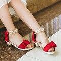 Children Elegant Party High Heels Sandals Girls Red Black Fish Toe Bowtie Shoes Kids Rhinestone Pearl Design Ankle Warp Sandals