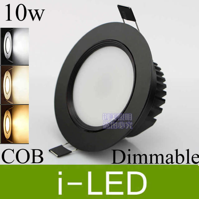Black Shell Cree Cob 10w Led Ceiling Downlight Dimmable Recessed Spot Light Indoor
