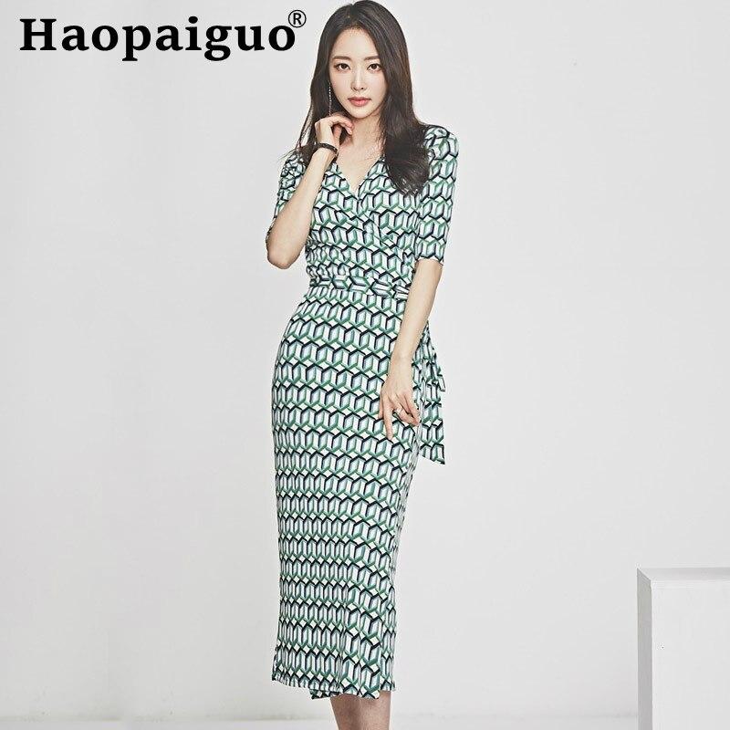 Plus Size Print Geometric Midi Dress Women Half Sleeve Corset Wrap Bodycon Summer Clothe for Vintage