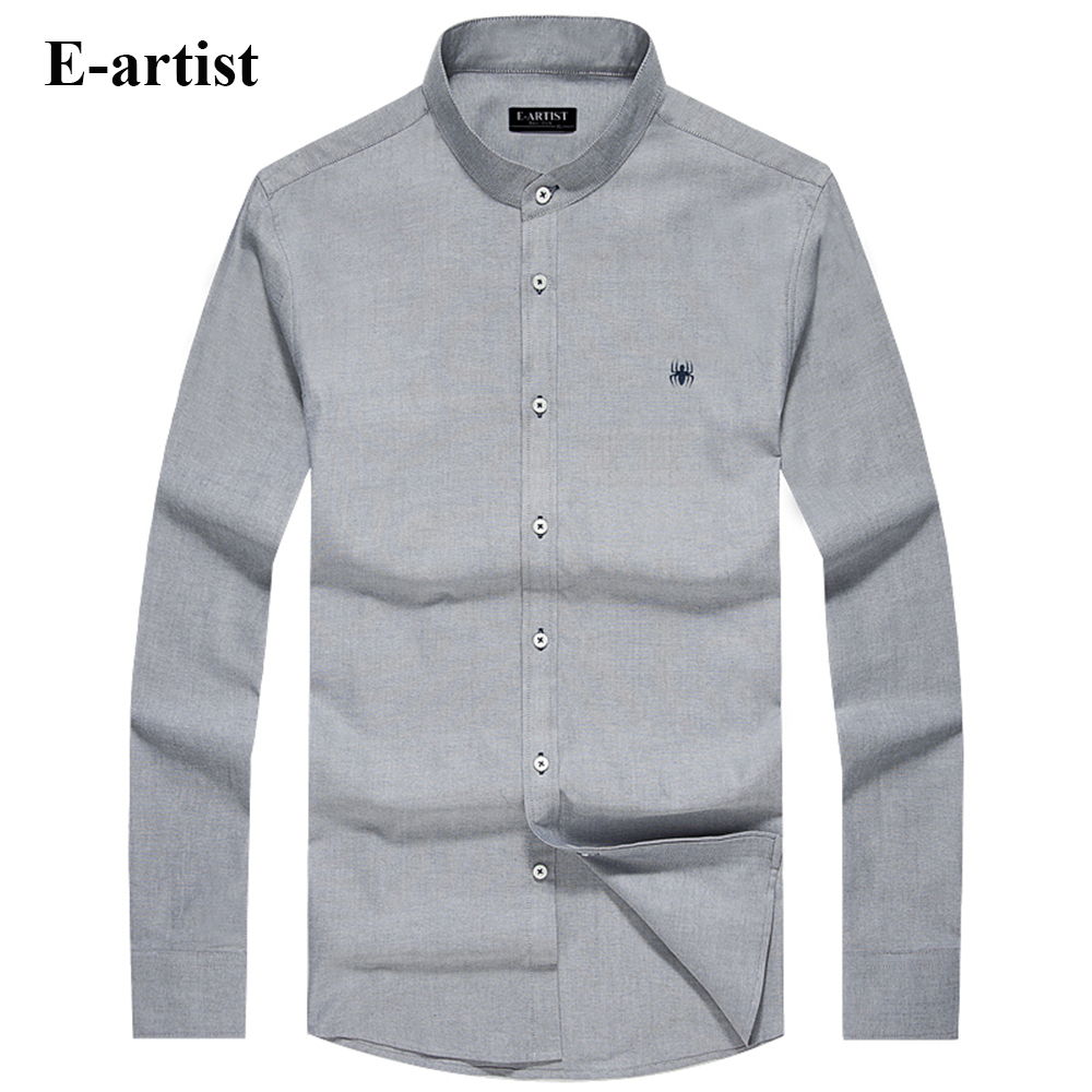 E artist Men s Stand Collar Business Casual Cotton Dress Shirts Male Long Sleeve Slim Fit