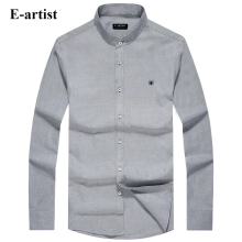 E-artist Men's Stand Collar Business Casual Cotton Dress Shirts Male Long Sleeve Slim Fit Formal Tops Plus Size 5XL C79
