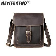 NEWEEKEND 5836 Vintage Fashion Genuine Leather Crazy Horse Hasp Zipper Crossbody Shoulder Messenger iPad Bag for Man