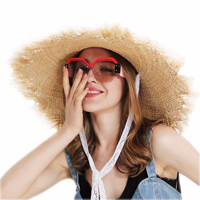 JIYOUOU Lace strap straw hat bow wide grass female summer cap beach visor  outdoor holiday beach 889c6f29b9c8