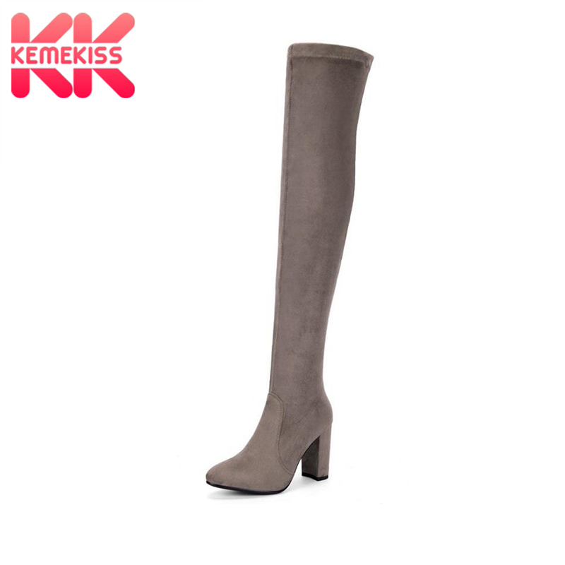 KemeKiss Women Genuine Leather High Heel Boots Over Knee Boots Elastic Cold Winter Shoes Long Botas Women Footwears Size 34-39 plus size 34 43 autumn winter genuine leather women flower shoes lady high heel long boots embroidered over knee high snow boots