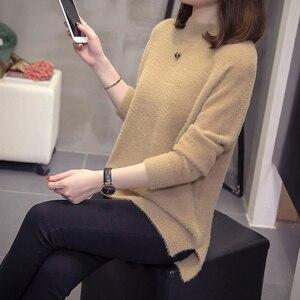 Image 4 - Plus rozmiar kaszmirowy sweter kobiet 2020 jesienno zimowa modne damskie dzianiny topy Split moherowe swetry ciepłe swetry Oversize