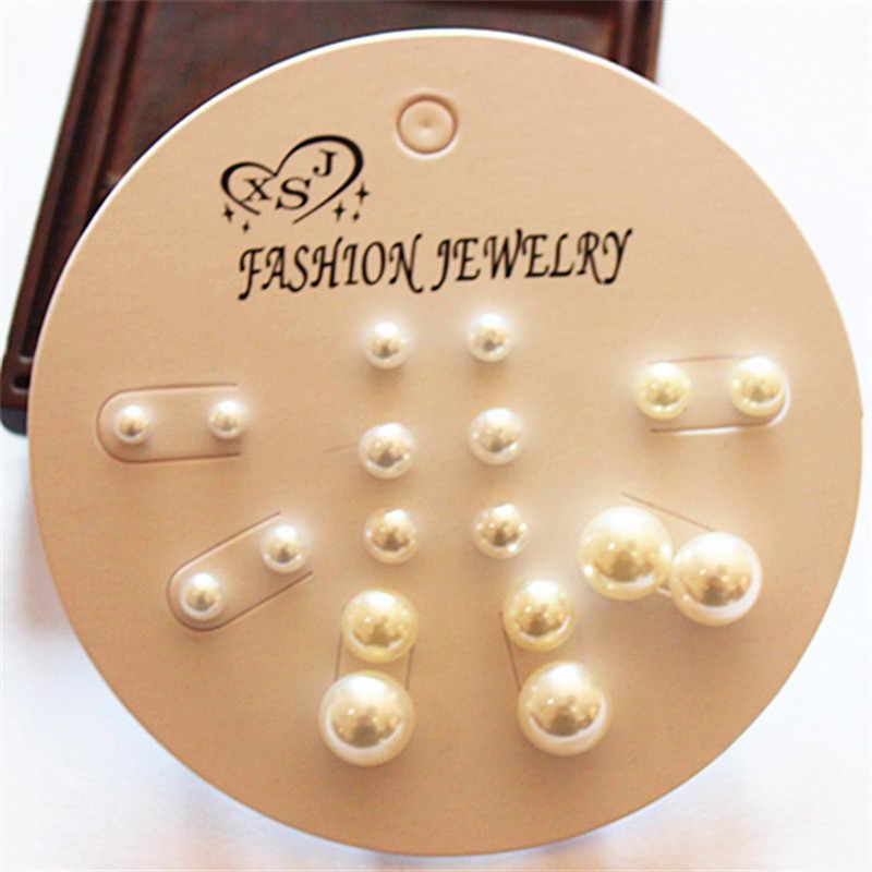 新ファッション女性のジュエリー卸売誕生日パーティーパール耳セットマッシュアップ 9 ペア/セットイヤリング送料無料