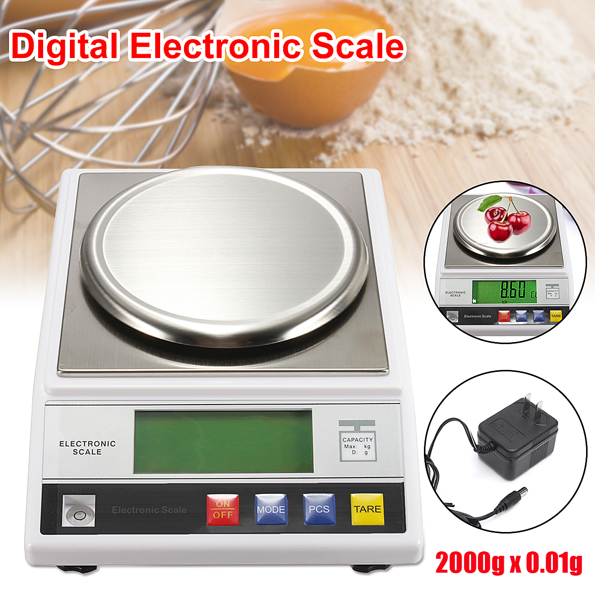 7.5V DC 200mA 2kg LCD Digital Electric Scale Jewelry Weight Balance Gram with US Plug Power Adapter7.5V DC 200mA 2kg LCD Digital Electric Scale Jewelry Weight Balance Gram with US Plug Power Adapter