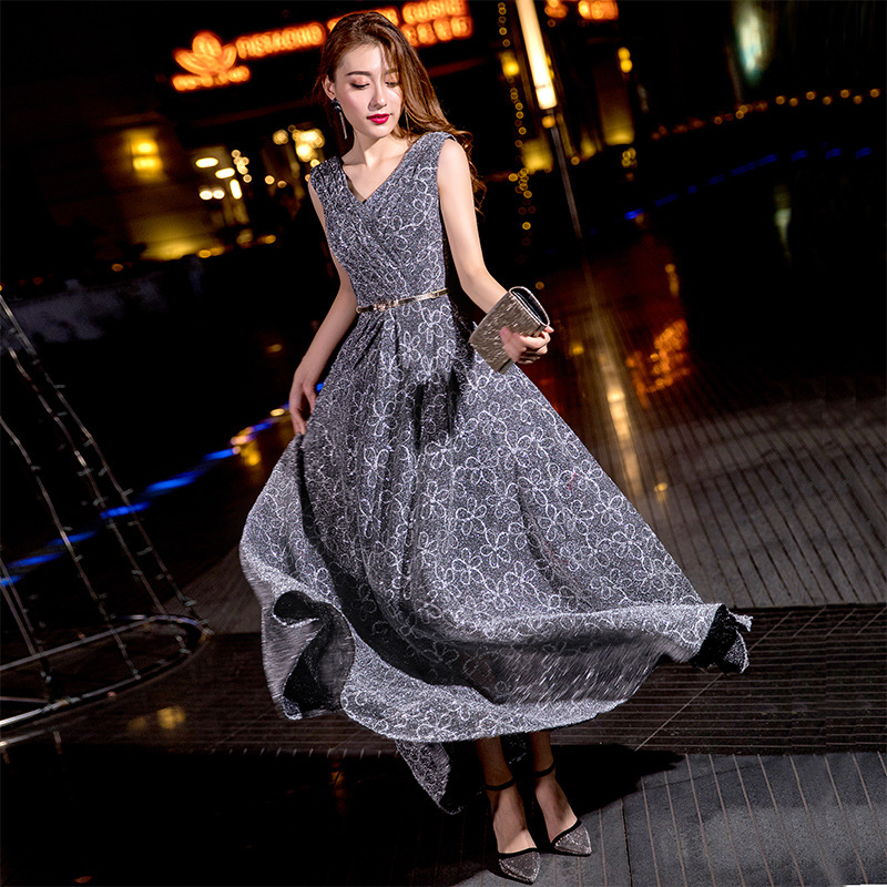 Evening     Dresses   V-neck Sleeveless Long Plus Size Formal Prom   Dress   Elegant Sequined Ankle-length Zipper A-line Party Gowns E350