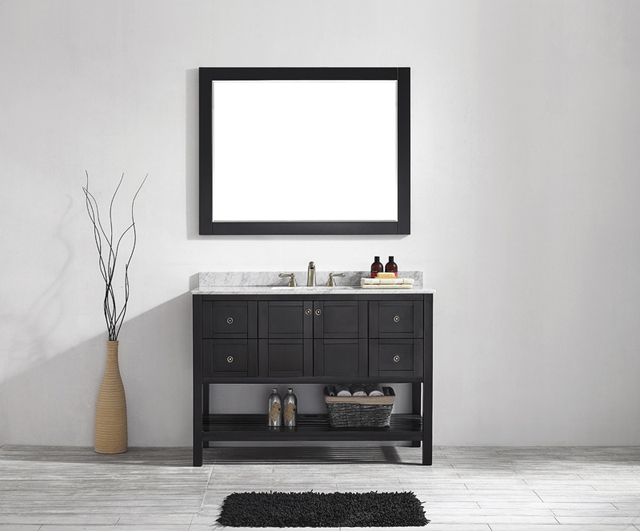 47Inch Espresso American Style Thailand Oak Solid Wood Bathroom Vanity 2  Doors U0026 4 Drawers With