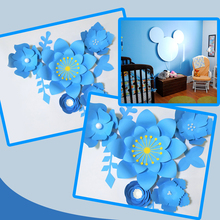 Handmade Blue Easy Made DIY Paper Flowers Leaves Set For Nursery Wall Deco Baby Shower Boys Room Backdrop Video Tutorials