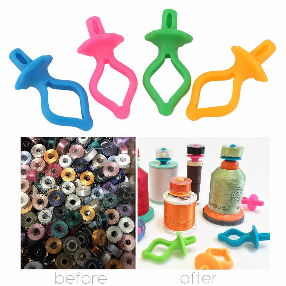 100% brand new and high quality Durable 8/16/24/32/40/48PC Color Silicone Thread Clips Bobbin Holders Clips Clamps Tool Gift