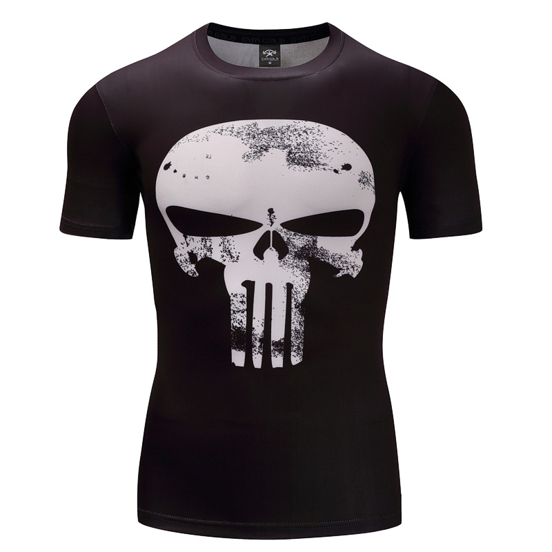 3D Printed T-shirts Men Short Raglan sleeve Punisher VS Flash T Shirt Fitness Cosplay Costume Slim Fit Compression Top Male