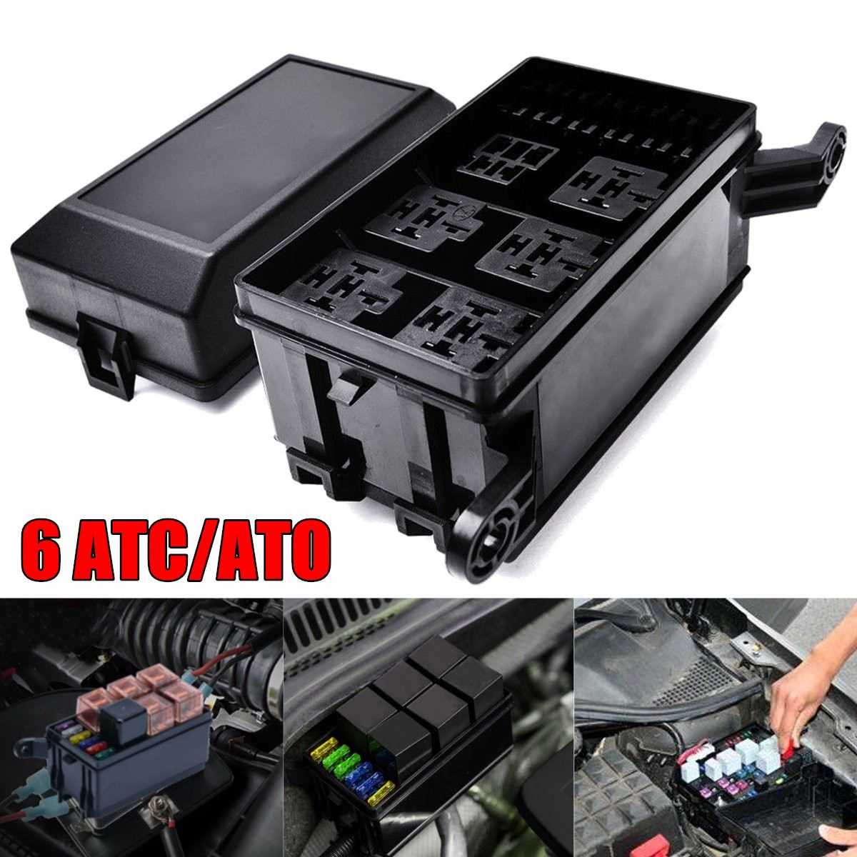 auto car fuse relay holder box relay socket 6 relay 6 atc ato fuses universal in car switches relays from automobiles motorcycles on aliexpress com  [ 1200 x 1200 Pixel ]
