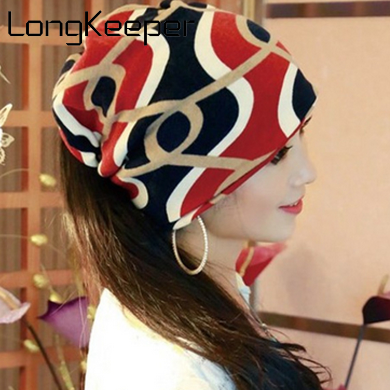 LongKeeper New Arrival Multifunctional Women's Hat Scarf Stripped Hip-Hop Beanie Spring&Autumn Snapback Cap Women Circle Beanie