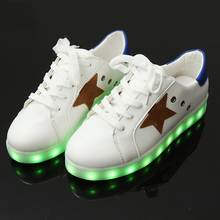 Yeafey Luminous Sneakers Children's Sole with Luminous Krasovki Kids Led Shoes Womens Fashion Sneakers White Shoes Size 35-44
