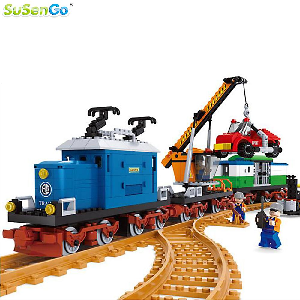 SuSenGo Building Kit Locomotive Train Model Blocks City Transport Children Educational Toys Christmas Gift loz mini diamond block world famous architecture financial center swfc shangha china city nanoblock model brick educational toys