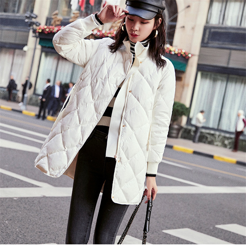 New Women Warm Thicken   Down   Jacket Autumn Winter Duck   Down   Jackets Parka Female Belt Stand Collar Midi Long   Coat   Outerwear A1524