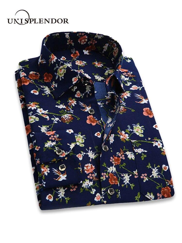 2018 Retro Floral Gedruckt Mann Casual Shirts Fashion Classic Männer Kleid Shirt Atmungsaktive herren Langarm Marke Kleidung YN552