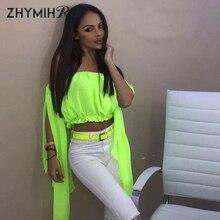 ZHYMIHRET Neon Slash Neck Chiffon Blouse Women Split Butterfly Sleeve Crop Tops 2019 Summer Off Shoulder Blusas Beach Haut Femme