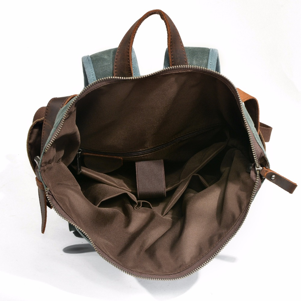 YUPINXUAN Luxury Vintage Canvas Backpacks for Men Oil Wax Canvas Leather  Travel Backpack Large Waterproof Daypacks 4e740a58bb3da