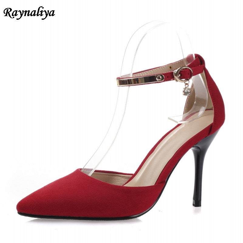 Ankle Strap Sandals Summer Women Sweet Shoes Pointed Toe High Heels Party Dress Sandal Big Size Red Blue Pink XZL-A0034 wholesale lttl new spring summer high heels shoes stiletto heel flock pointed toe sandals fashion ankle straps women party shoes