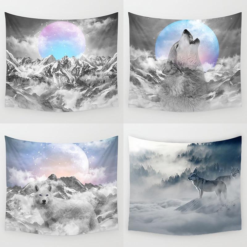 Comwarm Moderne Dekoration Tapisserie Tiere Wolf Elephant Printing Psychedelic Sky Strand Handtuch Polyester Wandbehang Für Schlafzimmer