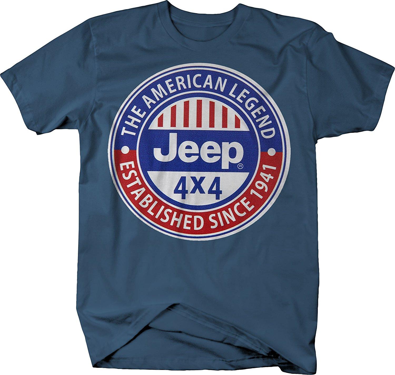 2019 novo verão magro camiseta os engrenagem jeep lenda americana desde 1941 vermelho branco azul retro camiseta moda
