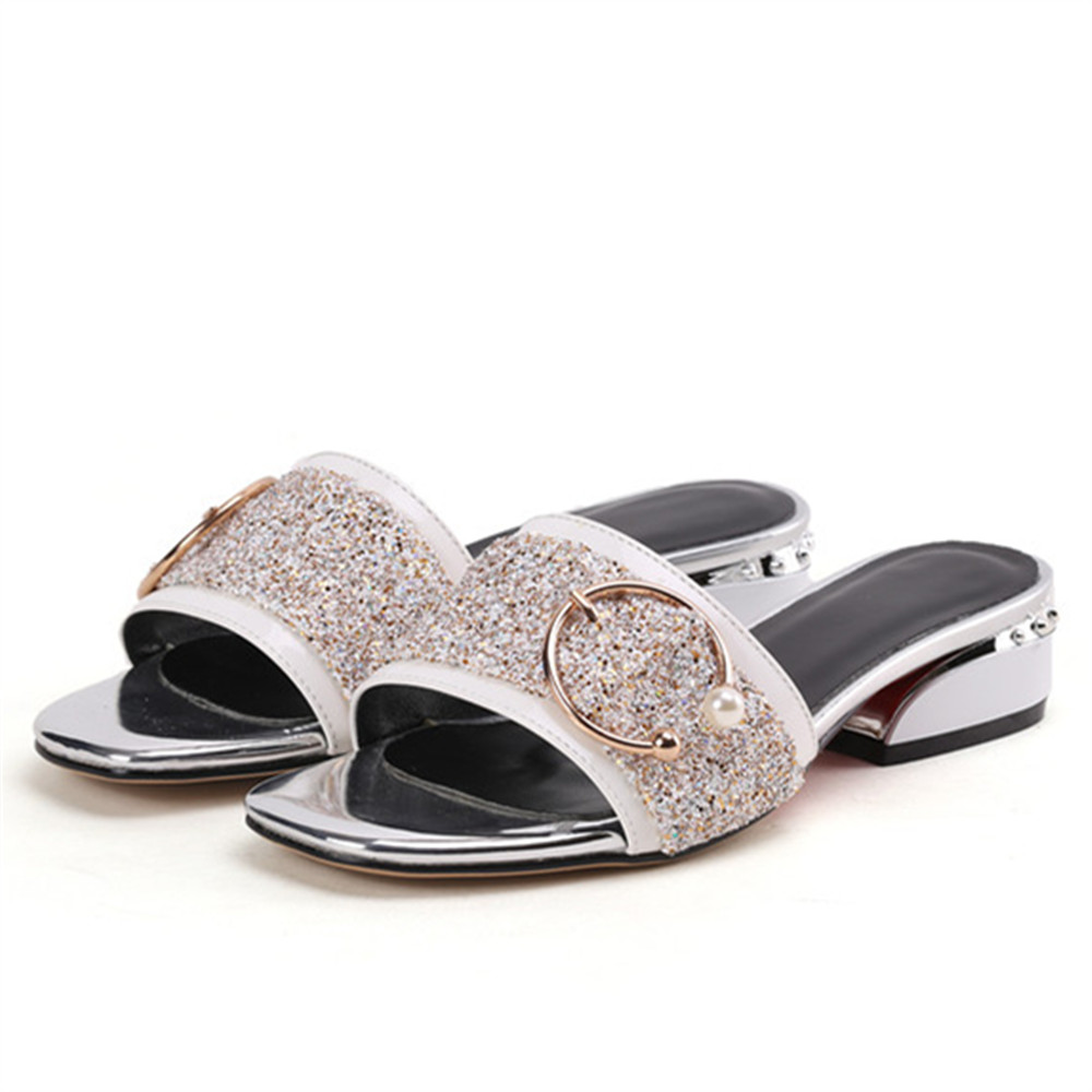 b92554b4e1df MORAZORA 2018 new arrive women slippers sequined cloth summer shoes size  34-39 comfortable 4cm square heel mules shoes