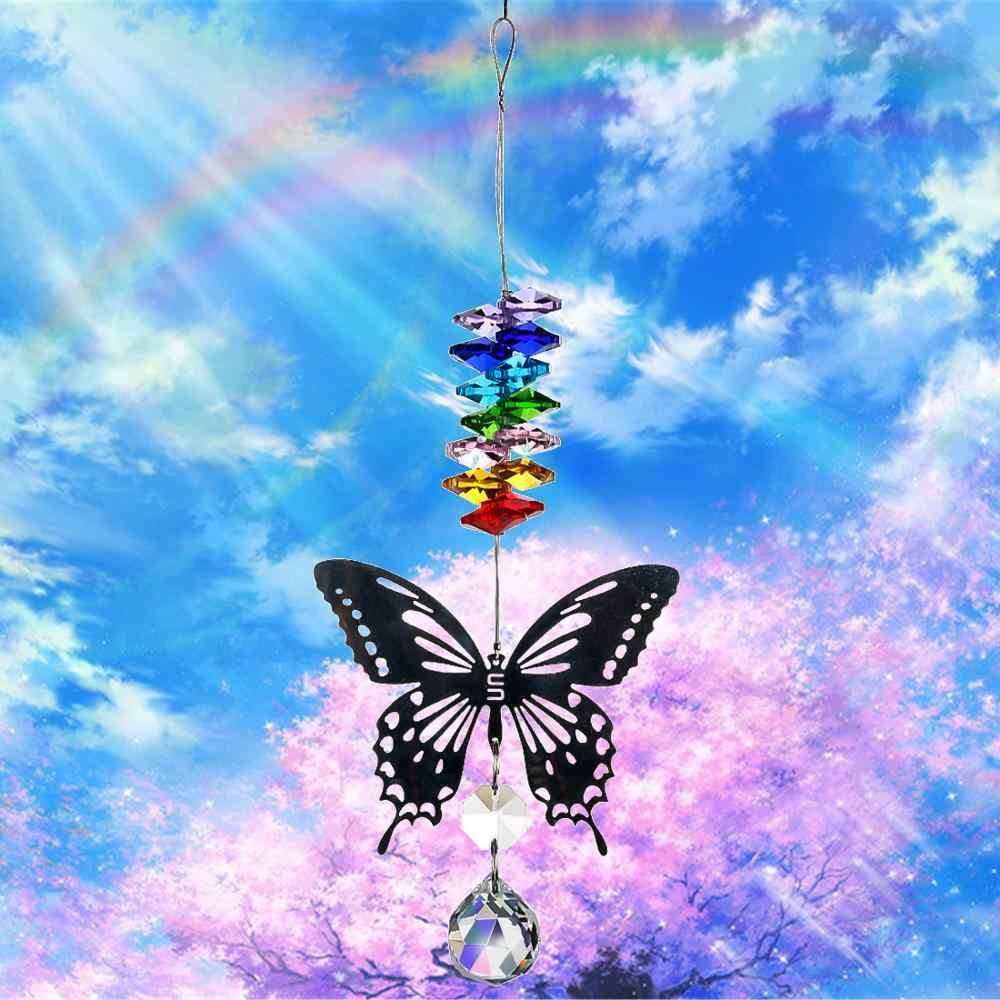H & D 20 Mm Buatan Tangan Kupu-kupu Bola Kristal Prism Rainbow Pembuat Gantung SunCatcher dengan Octagon Manik-manik Rumah Pernikahan Dekorasi nikmat