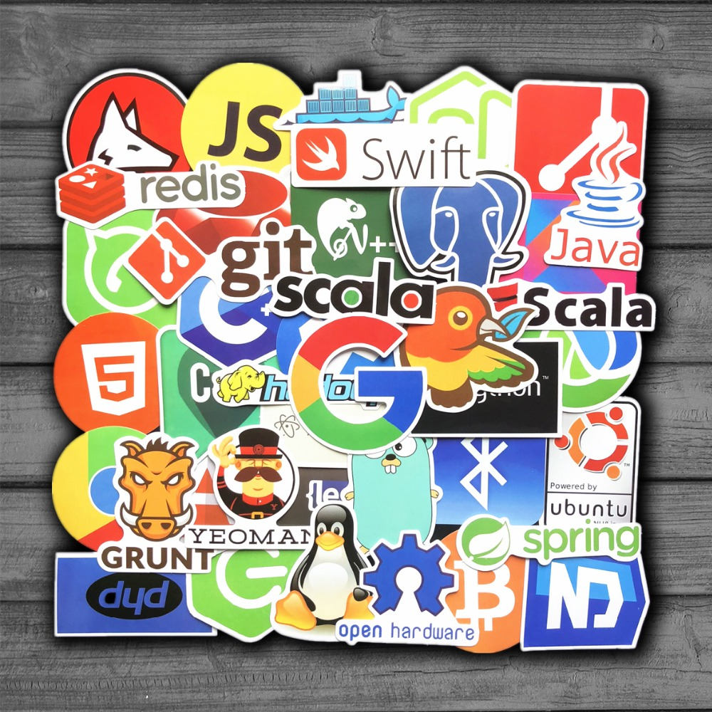 50Pcs/Lot Internet Java JS Php Html Cloud Docker Bitcoin Programming Language APP Logo Cool Stickers for Laptop Car DIY Stickers image