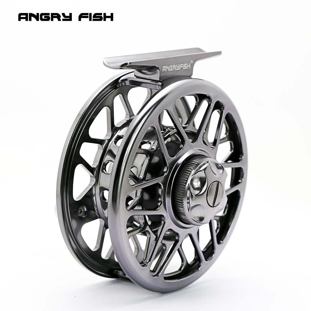 ANGRYFISH Fly Fishing Reel 2+1BB Full Metal Aluminum Alloy Die Casting Fly Reel Fishing Reel with Large Arbor aluminum alloy fly fishing reel silver 0 30mm 200m