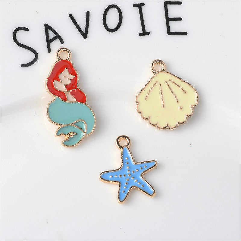 10pcs New Enamel Mermaid Starfish Sea Shell charms nautical item jewelry pendants Hanging Diy Earrings making Hair Accessories