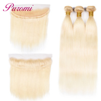 Puromi 613 Blonde Bundles With Closure Peruvian Straight Bundles With 13*4 Lace Frontal Closure 100% Human Hair Weaving Non Remy