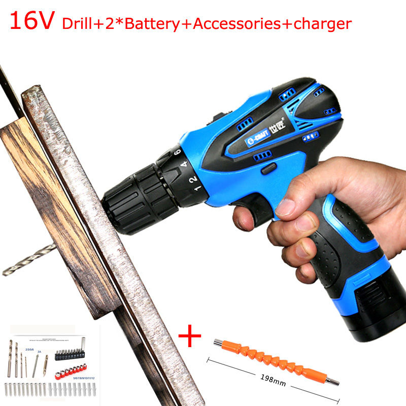 16.8V Electric Drill Cordless Screwdriver Rechargeable Parafusadeira Furadeira Electric Screwdriver Power Tools free shipping brand proskit upt 32007d frequency modulated electric screwdriver 2 electric screwdriver bit 900 1300rpm tools