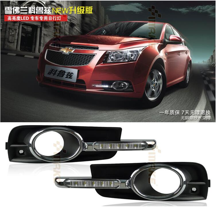 free shipping, OsMrk drl LED drl ,Daytime Running Light For Chevrolet CRUZE 2009-2013 with fog lights, fog lamp цены