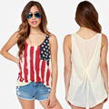 2015 New summer style American flag back chiffon patchwork print knitted T-shirt pleated sleeveless female