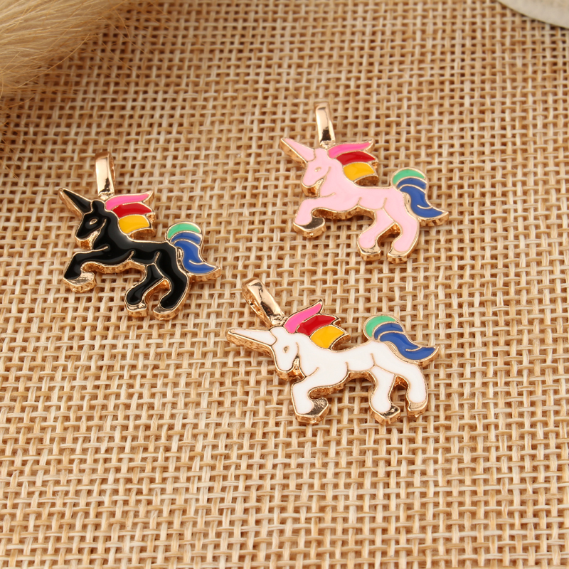 10pcs/pack DIY Chunky Enamel Unicorn Pendant Jewelry Findings Gold Color Charms Handmade Necklace Girls Kids Accessory C33(China)