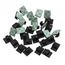30 шт. белый автомобильный зажим для галстука, фиксатор, органайзер, черный и белый цвет, зажим для шнура, держатель для кабельной линии, самоклеющийся