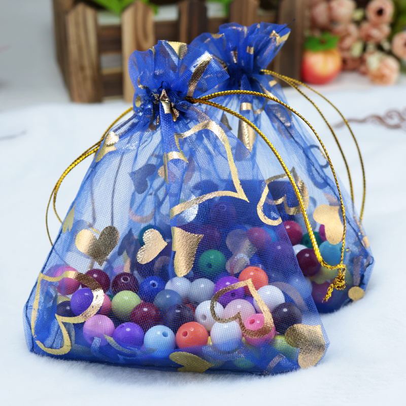 Whole 500pcs Lot Royal Blue Organza Bags 11x16cm Wedding Favor Christmas Gift Cute Candy Jewelry Packaging Bag Pouches In Wring