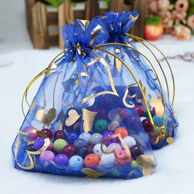 Whole 500pcs Lot Royal Blue Organza Bags 11x16cm Wedding Favor Christmas Gift Cute Candy